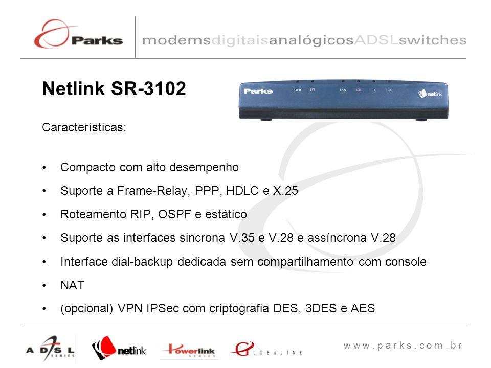 w w w. p a r k s. c o m. b r Características: Compacto com alto desempenho Suporte a Frame-Relay, PPP, HDLC e X.25 Roteamento RIP, OSPF e estático Sup