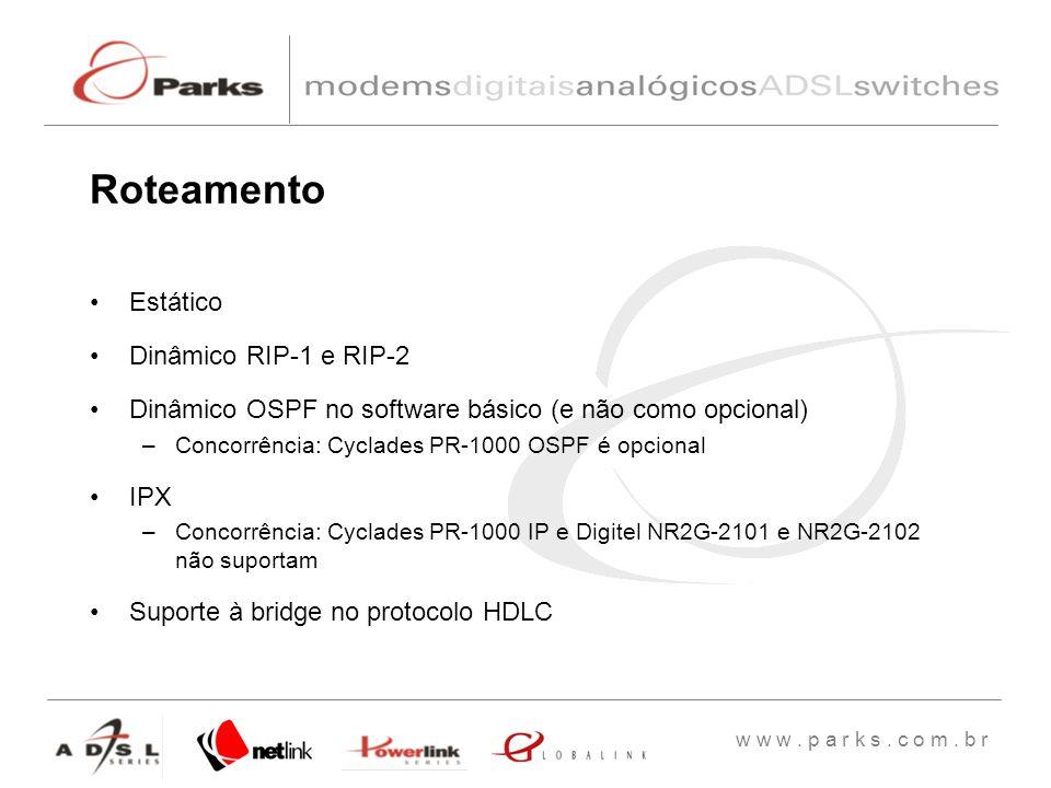 w w w. p a r k s. c o m. b r Estático Dinâmico RIP-1 e RIP-2 Dinâmico OSPF no software básico (e não como opcional) –Concorrência: Cyclades PR-1000 OS