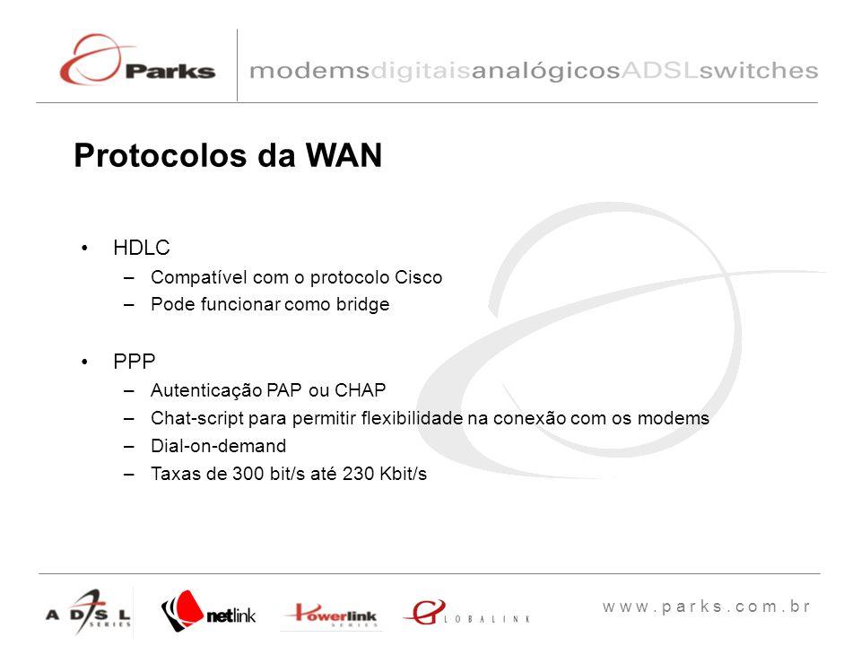 w w w. p a r k s. c o m. b r HDLC –Compatível com o protocolo Cisco –Pode funcionar como bridge PPP –Autenticação PAP ou CHAP –Chat-script para permit