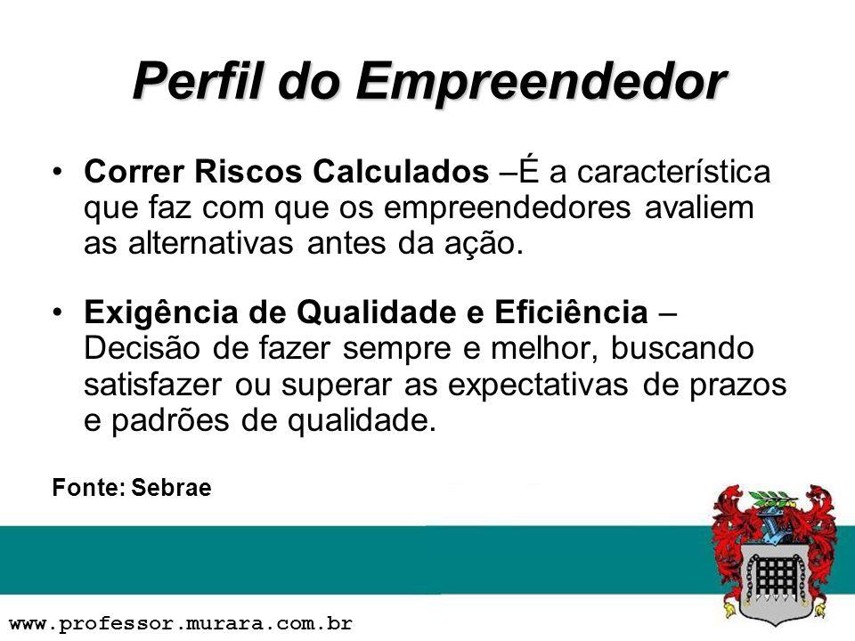 Perfil do Empreendedor Correr Riscos Calculados –É a característica que faz com que os empreendedores avaliem as alternativas antes da ação.