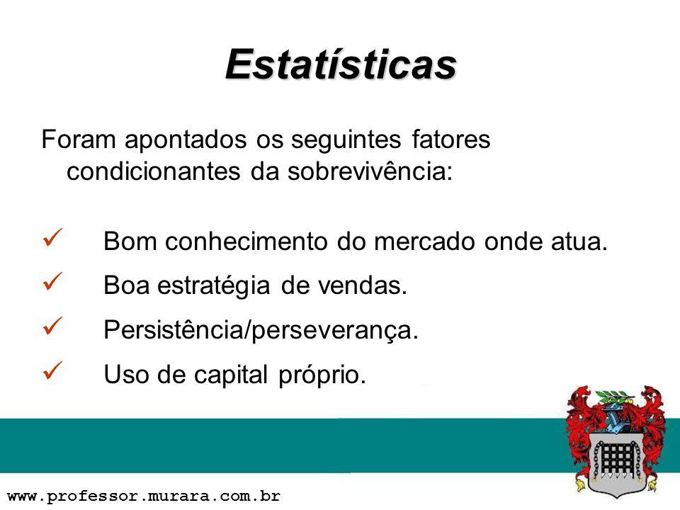 Estatísticas Foram apontados os seguintes fatores condicionantes da sobrevivência: Bom conhecimento do mercado onde atua. Boa estratégia de vendas. Pe