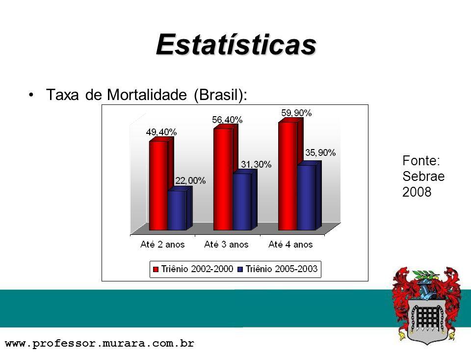 Estatísticas Taxa de Mortalidade (Brasil): www.professor.murara.com.br Fonte: Sebrae 2008