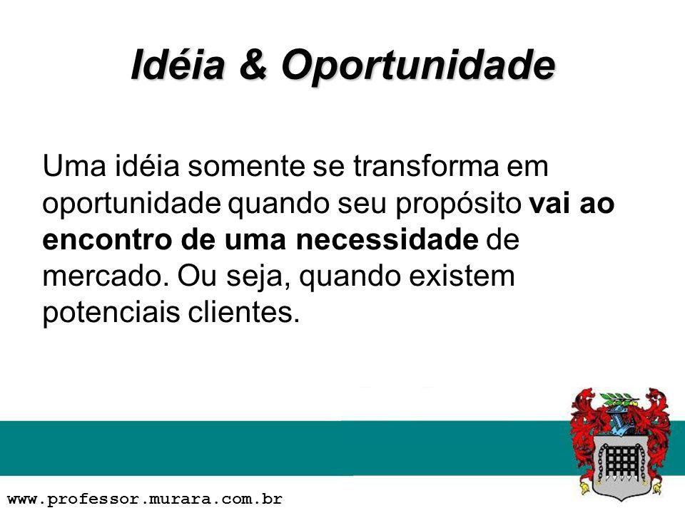 Idéia & Oportunidade Uma idéia somente se transforma em oportunidade quando seu propósito vai ao encontro de uma necessidade de mercado. Ou seja, quan