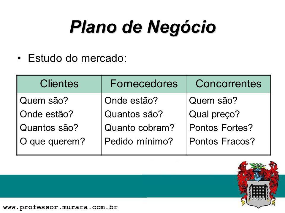 Plano de Negócio Estudo do mercado: ClientesFornecedoresConcorrentes Quem são.