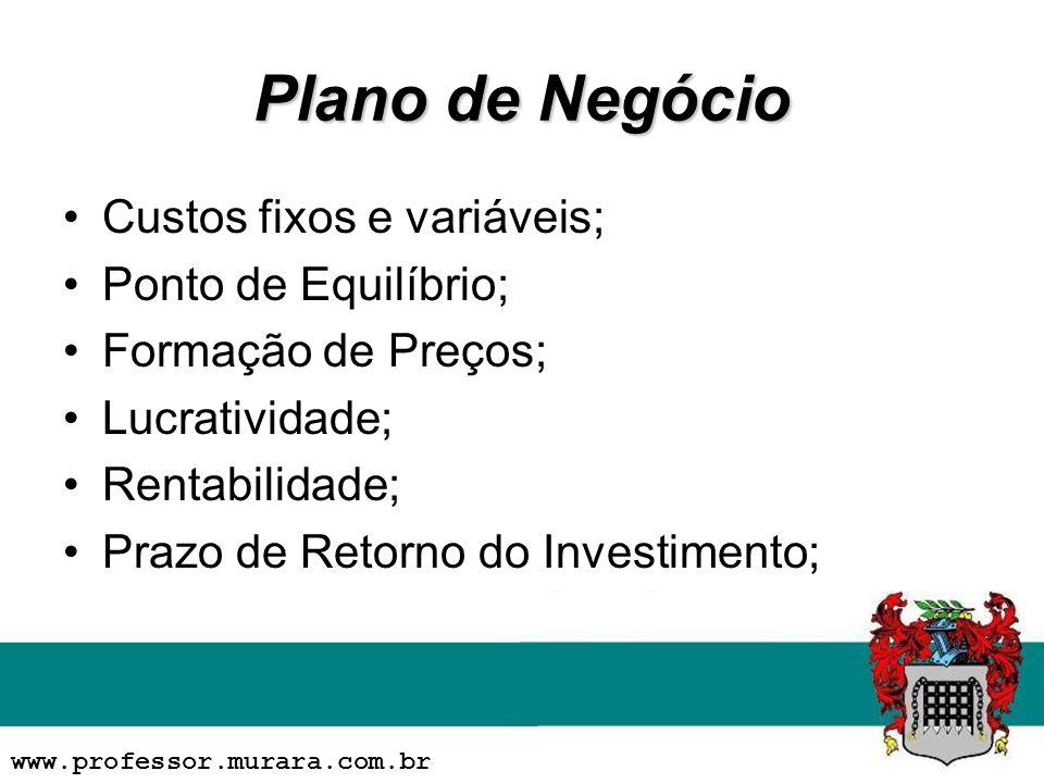 Plano de Negócio Custos fixos e variáveis; Ponto de Equilíbrio; Formação de Preços; Lucratividade; Rentabilidade; Prazo de Retorno do Investimento; www.professor.murara.com.br
