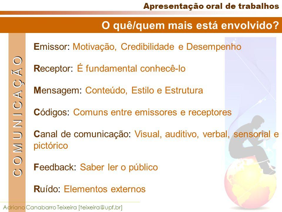Adriano Canabarro Teixeira [teixeira@upf.br] Apresentação oral de trabalhos O quê/quem mais está envolvido.