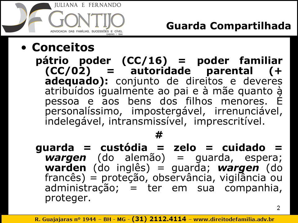 R. Guajajaras nº 1944 – BH - MG - (31) 2112.4114 – www.direitodefamilia.adv.br 2 Conceitos pátrio poder (CC/16) = poder familiar (CC/02) = autoridade