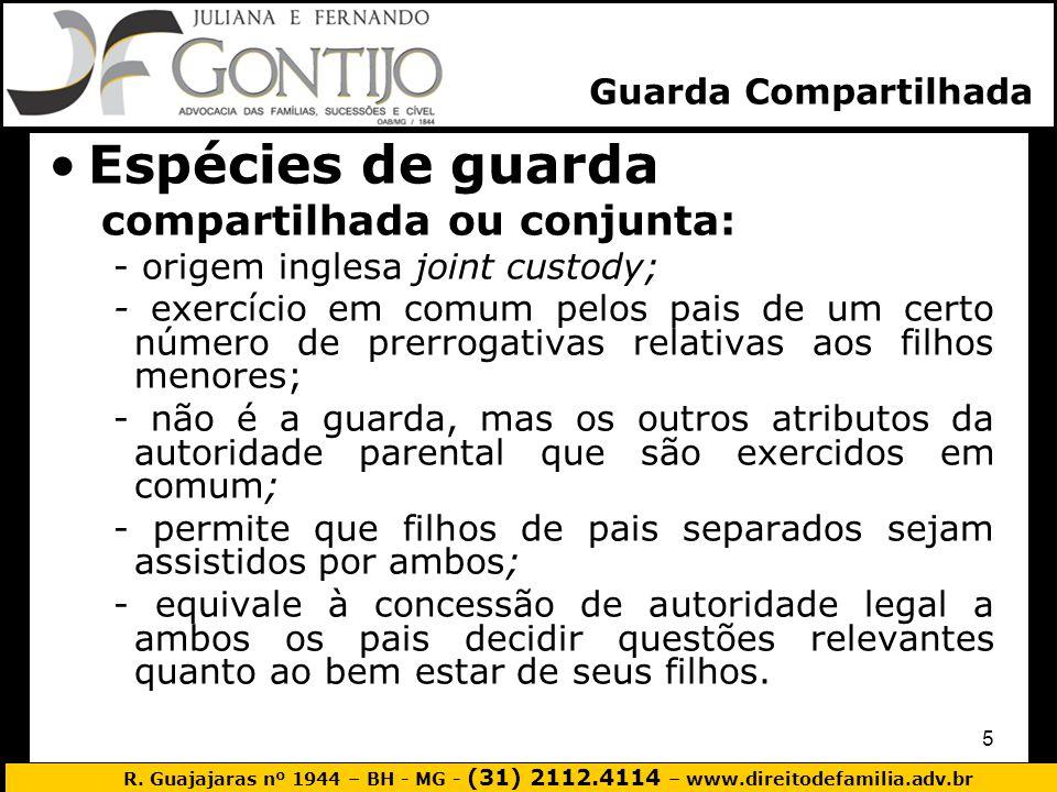 R. Guajajaras nº 1944 – BH - MG - (31) 2112.4114 – www.direitodefamilia.adv.br 5 Espécies de guarda compartilhada ou conjunta: - origem inglesa joint