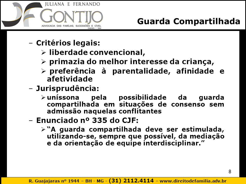 R. Guajajaras nº 1944 – BH - MG - (31) 2112.4114 – www.direitodefamilia.adv.br 8 –Critérios legais: liberdade convencional, primazia do melhor interes