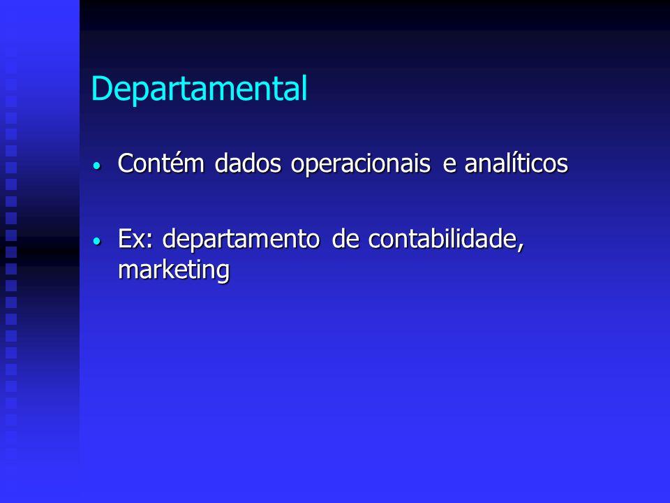 Departamental Contém dados operacionais e analíticos Contém dados operacionais e analíticos Ex: departamento de contabilidade, marketing Ex: departame