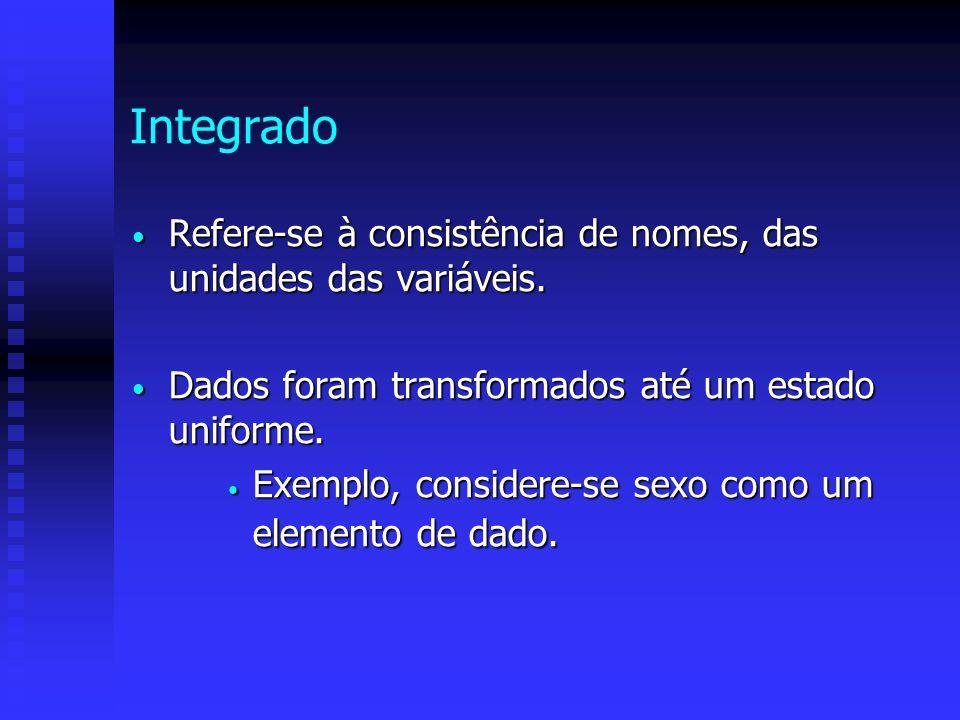 Integrado Refere-se à consistência de nomes, das unidades das variáveis. Refere-se à consistência de nomes, das unidades das variáveis. Dados foram tr