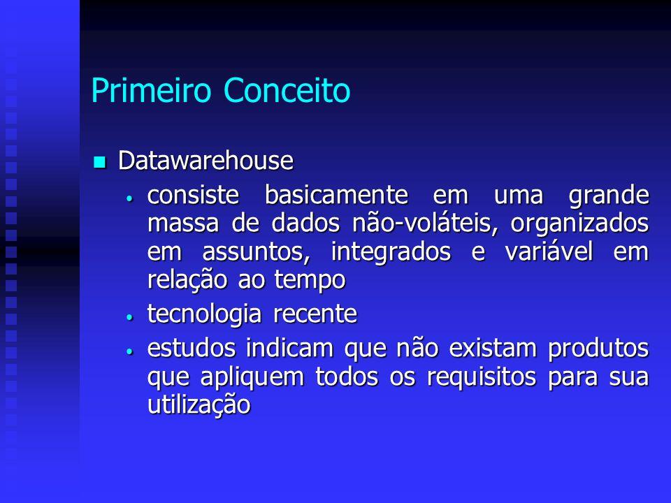Primeiro Conceito Datawarehouse Datawarehouse consiste basicamente em uma grande massa de dados não-voláteis, organizados em assuntos, integrados e va