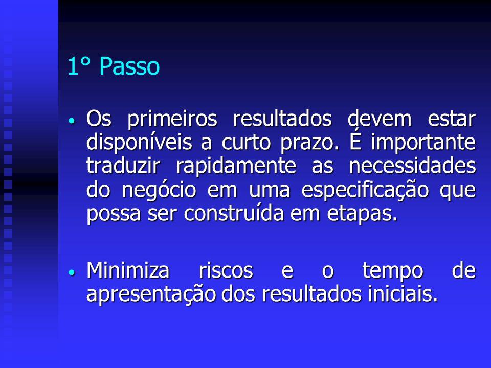 1° Passo Os primeiros resultados devem estar disponíveis a curto prazo. É importante traduzir rapidamente as necessidades do negócio em uma especifica