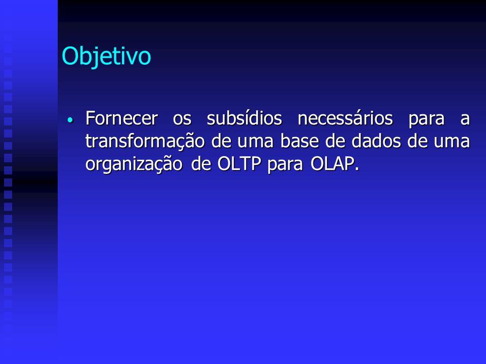 OLTP On-Line Transaction Processing Processamentos que executam as operações do dia-a-dia da organização Processamentos que executam as operações do dia-a-dia da organização Ênfase ao suporte do negócio, através de um processamento rápido, acurado e eficiente de dados Ênfase ao suporte do negócio, através de um processamento rápido, acurado e eficiente de dados Ex: movimento bancário Ex: movimento bancário