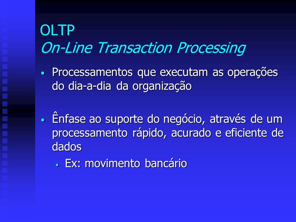 OLTP On-Line Transaction Processing Processamentos que executam as operações do dia-a-dia da organização Processamentos que executam as operações do d