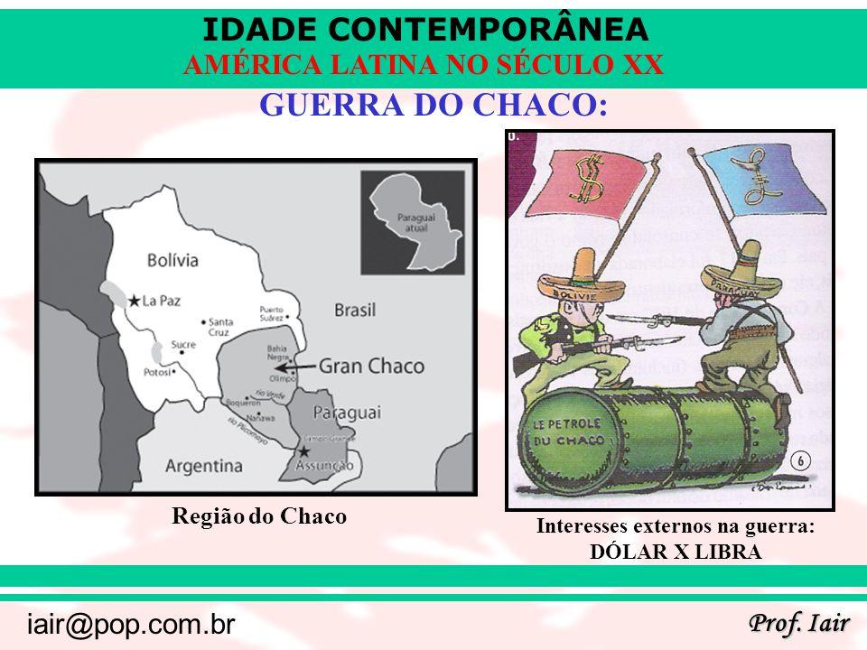 IDADE CONTEMPORÂNEA Prof. Iair iair@pop.com.br AMÉRICA LATINA NO SÉCULO XX GUERRA DO CHACO: Região do Chaco Interesses externos na guerra: DÓLAR X LIB