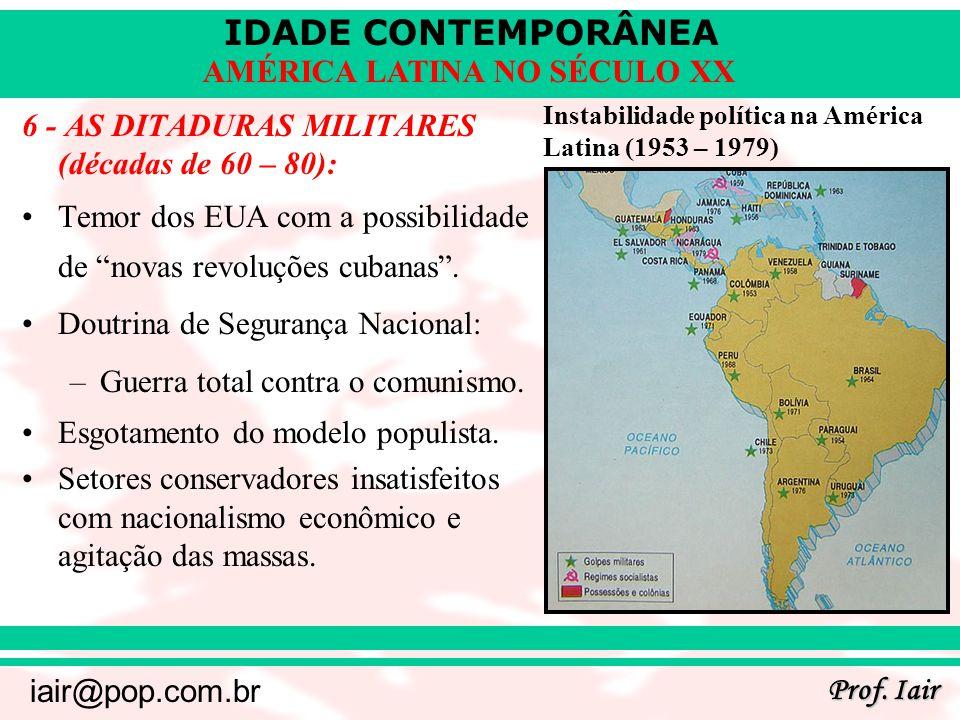 IDADE CONTEMPORÂNEA Prof. Iair iair@pop.com.br AMÉRICA LATINA NO SÉCULO XX 6 - AS DITADURAS MILITARES (décadas de 60 – 80): Temor dos EUA com a possib