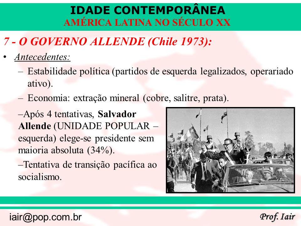 IDADE CONTEMPORÂNEA Prof. Iair iair@pop.com.br AMÉRICA LATINA NO SÉCULO XX 7 - O GOVERNO ALLENDE (Chile 1973): Antecedentes: –Estabilidade política (p