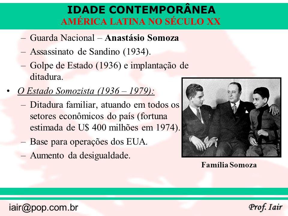 IDADE CONTEMPORÂNEA Prof. Iair iair@pop.com.br AMÉRICA LATINA NO SÉCULO XX –Guarda Nacional – Anastásio Somoza –Assassinato de Sandino (1934). –Golpe