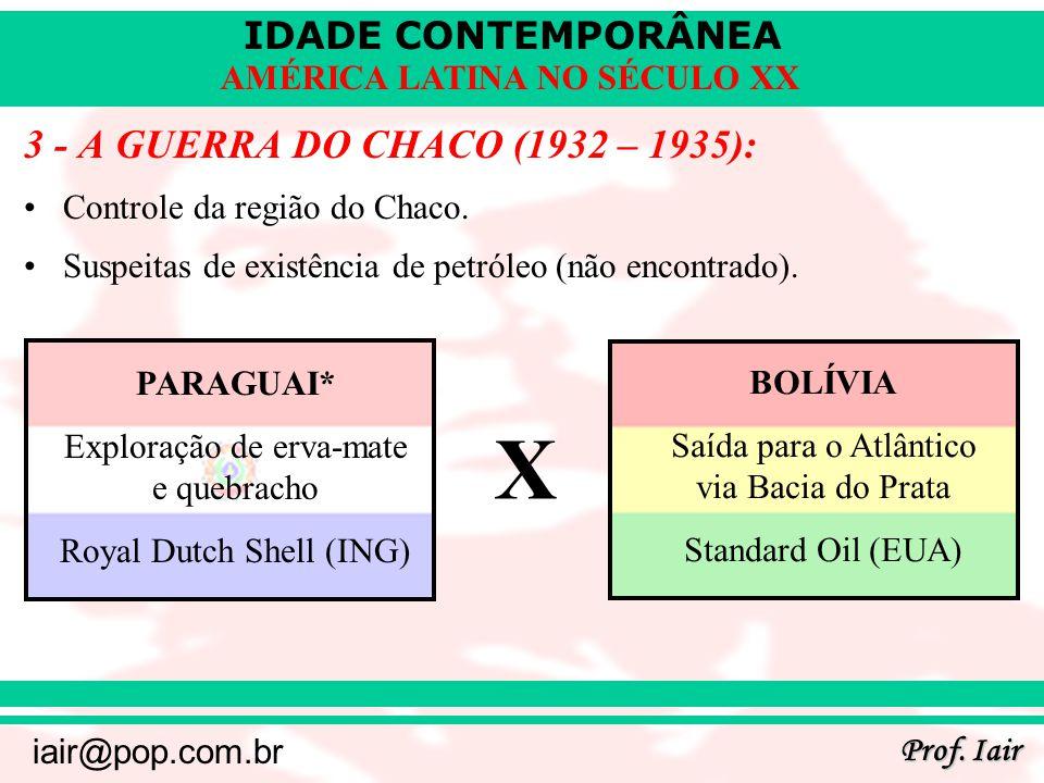 IDADE CONTEMPORÂNEA Prof. Iair iair@pop.com.br AMÉRICA LATINA NO SÉCULO XX 3 - A GUERRA DO CHACO (1932 – 1935): Controle da região do Chaco. Suspeitas