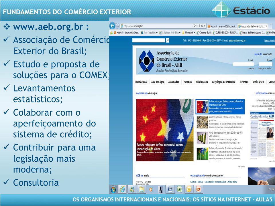 OS ORGANISMOS INTERNACIONAIS E NACIONAIS: OS SÍTIOS NA INTERNET – AULA5 FUNDAMENTOS DO COMÉRCIO EXTERIOR www.aeb.org.br : Associação de Comércio Exter