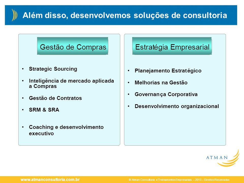 © Atman Consultoria e Treinamentos Empresariais – 2013 – Direitos Reservados www.atmanconsultoria.com.br Além disso, desenvolvemos soluções de consult