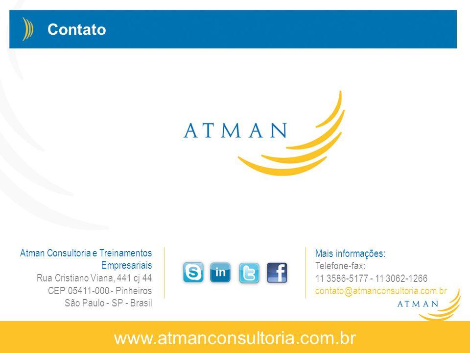 © Atman Consultoria e Treinamentos Empresariais – 2013 – Direitos Reservados www.atmanconsultoria.com.br Atman Consultoria e Treinamentos Empresariais