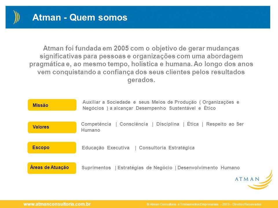 © Atman Consultoria e Treinamentos Empresariais – 2013 – Direitos Reservados www.atmanconsultoria.com.br Atman - Quem somos Missão Valores Áreas de At