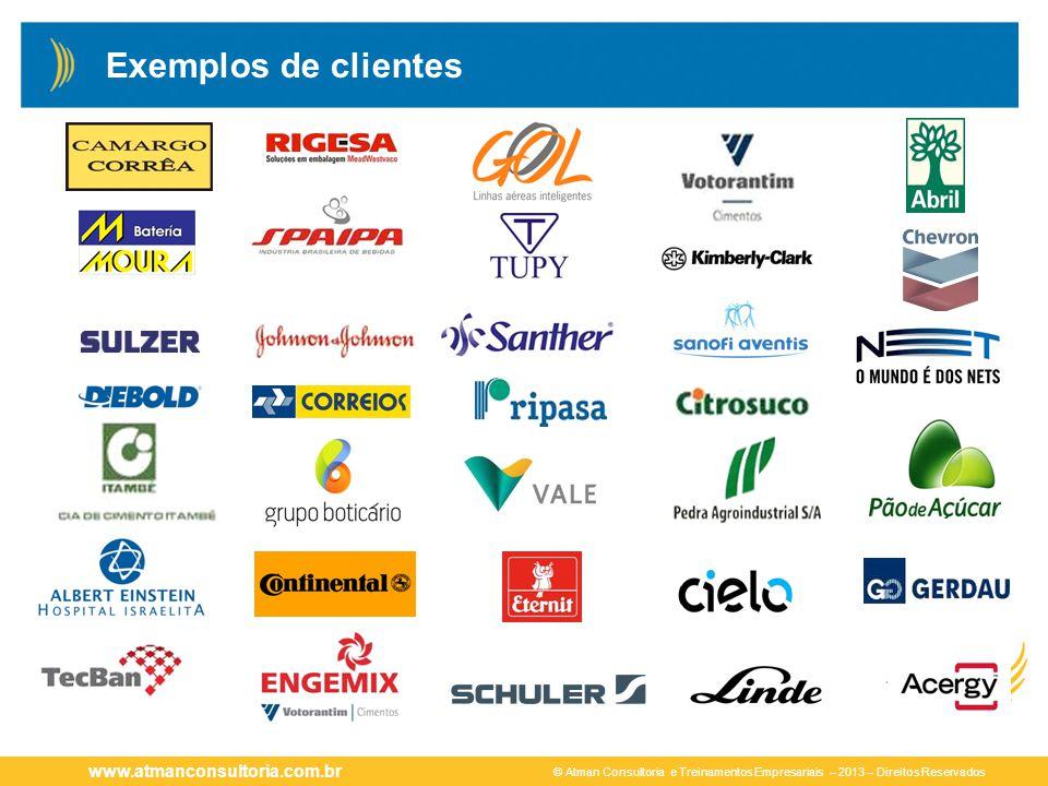 © Atman Consultoria e Treinamentos Empresariais – 2013 – Direitos Reservados www.atmanconsultoria.com.br Exemplos de clientes