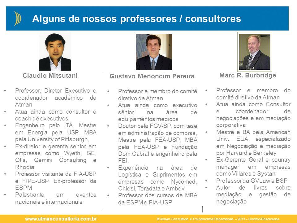 © Atman Consultoria e Treinamentos Empresariais – 2013 – Direitos Reservados www.atmanconsultoria.com.br Claudio Mitsutani Professor, Diretor Executiv