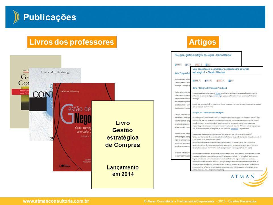© Atman Consultoria e Treinamentos Empresariais – 2013 – Direitos Reservados www.atmanconsultoria.com.br Publicações ArtigosLivros dos professores Liv