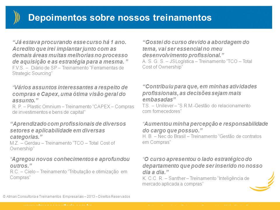© Atman Consultoria e Treinamentos Empresariais – 2013 – Direitos Reservados www.atmanconsultoria.com.br © Atman Consultoria e Treinamentos Empresaria