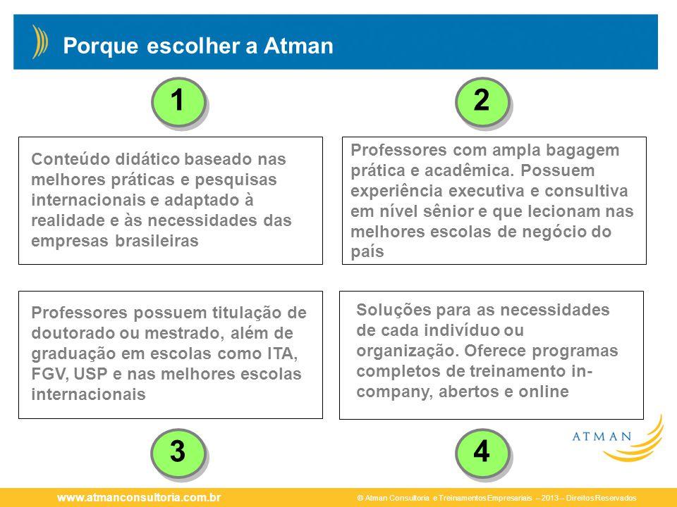 © Atman Consultoria e Treinamentos Empresariais – 2013 – Direitos Reservados www.atmanconsultoria.com.br Porque escolher a Atman 12 34 Conteúdo didáti