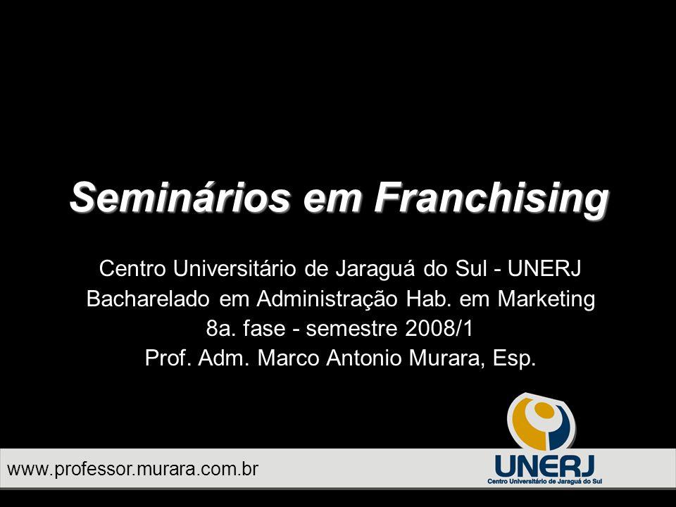Seminários em Franchising Centro Universitário de Jaraguá do Sul - UNERJ Bacharelado em Administração Hab.