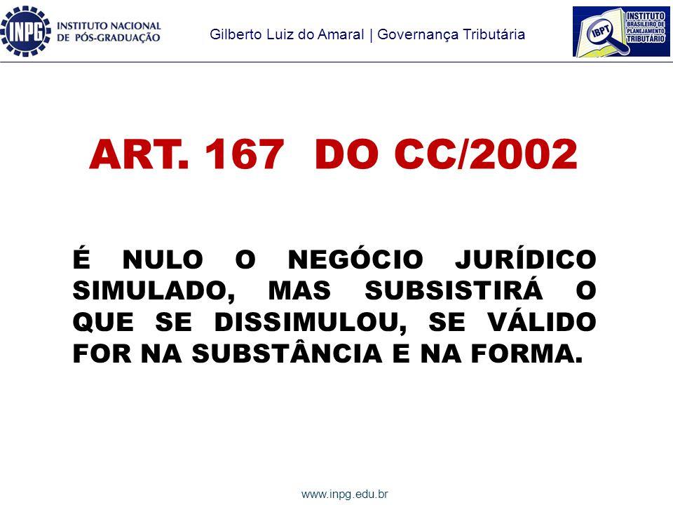 Gilberto Luiz do Amaral | Governança Tributária www.inpg.edu.br ART.