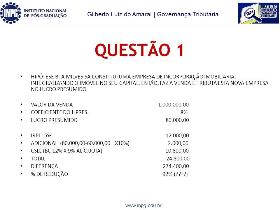 Gilberto Luiz do Amaral | Governança Tributária www.inpg.edu.br QUESTÃO 1 HIPÓTESE A: REDUÇÃO DO CAPITAL SOCIAL, COM DEVOLUÇÃO DO IMÓVEL AO SÓCIO PELO VALOR DO CUSTO R$ 120.000,00, FAZ A VENDA NA PESSOA FÍSICA E TRIBUTA COMO GANHO DE CAPITAL VALOR DA VENDA 1.000.000,00 CUSTO 120.000,00 GANHO 880.000,00 IRPF 15% 132.000,00 DIFERENÇA 165.200,00 % DE REDUÇÃO 56%