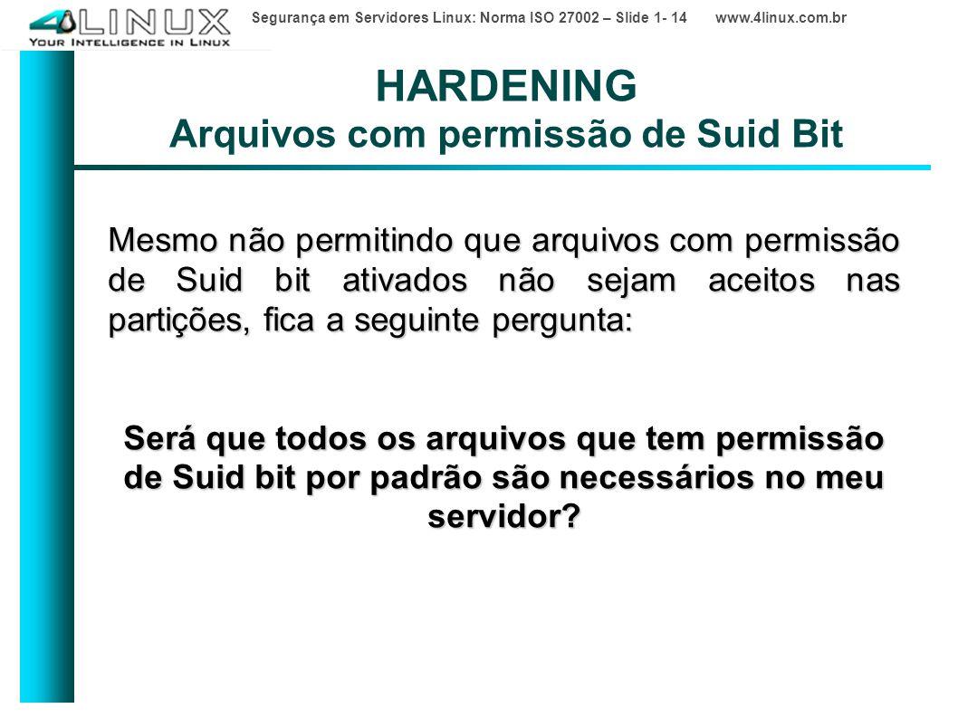 Segurança em Servidores Linux: Norma ISO 27002 – Slide 1- 14 www.4linux.com.br HARDENING Arquivos com permissão de Suid Bit Mesmo não permitindo que arquivos com permissão de Suid bit ativados não sejam aceitos nas partições, fica a seguinte pergunta: Será que todos os arquivos que tem permissão de Suid bit por padrão são necessários no meu servidor?