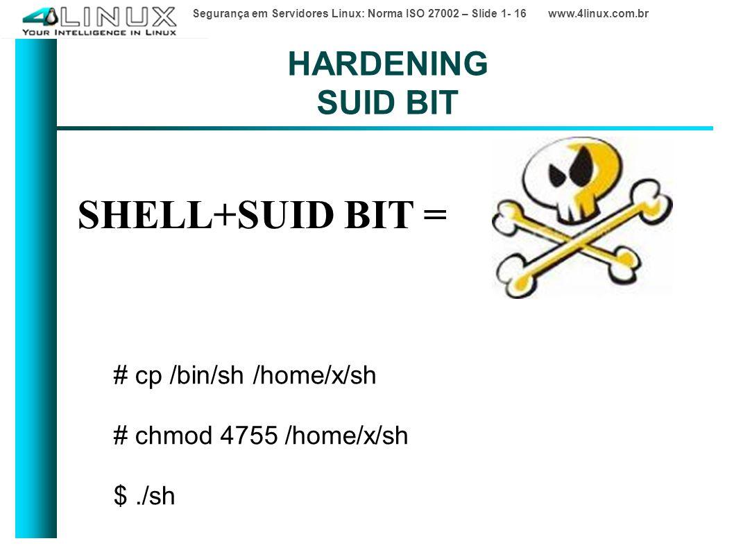 Segurança em Servidores Linux: Norma ISO 27002 – Slide 1- 16 www.4linux.com.br HARDENING SUID BIT SHELL+SUID BIT = # cp /bin/sh /home/x/sh # chmod 4755 /home/x/sh $./sh