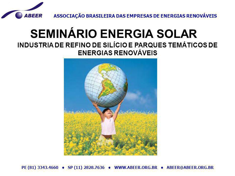 ASSOCIAÇÃO BRASILEIRA DAS EMPRESAS DE ENERGIAS RENOVÁVEIS PE (81) 3343.4660 SP (11) 2828.7636 WWW.ABEER.ORG.BR ABEER@ABEER.ORG.BR Cenário mundial Energias renováveis são a ordem do dia no setor de energias no mundo.