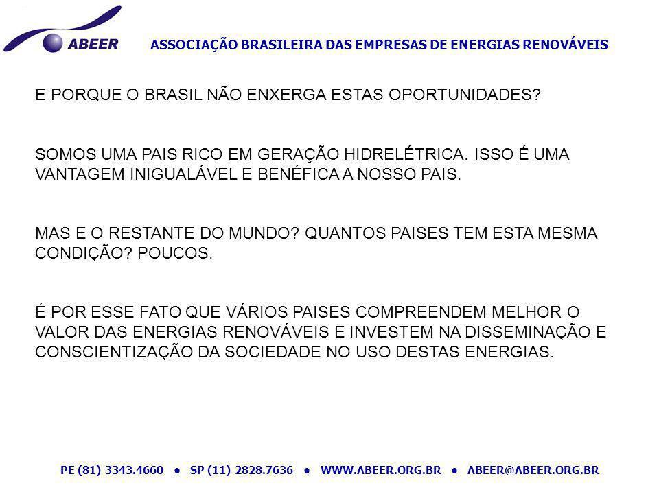 ASSOCIAÇÃO BRASILEIRA DAS EMPRESAS DE ENERGIAS RENOVÁVEIS PE (81) 3343.4660 SP (11) 2828.7636 WWW.ABEER.ORG.BR ABEER@ABEER.ORG.BR E PORQUE O BRASIL NÃ