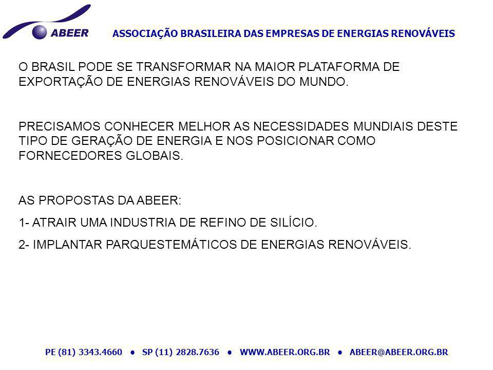 ASSOCIAÇÃO BRASILEIRA DAS EMPRESAS DE ENERGIAS RENOVÁVEIS PE (81) 3343.4660 SP (11) 2828.7636 WWW.ABEER.ORG.BR ABEER@ABEER.ORG.BR O BRASIL PODE SE TRA