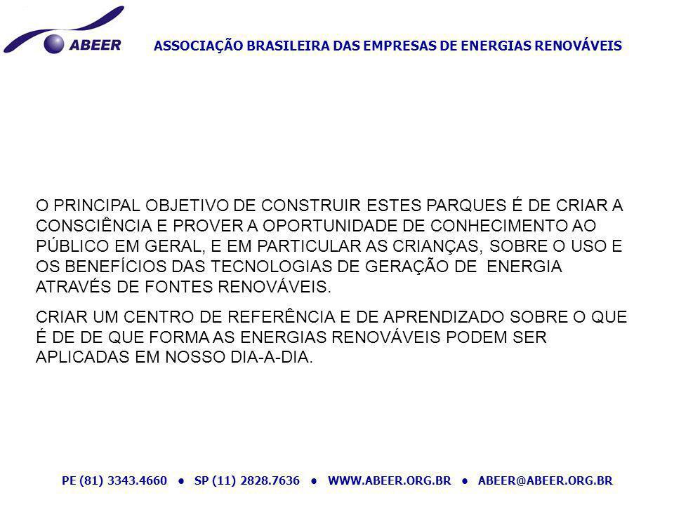ASSOCIAÇÃO BRASILEIRA DAS EMPRESAS DE ENERGIAS RENOVÁVEIS PE (81) 3343.4660 SP (11) 2828.7636 WWW.ABEER.ORG.BR ABEER@ABEER.ORG.BR O PRINCIPAL OBJETIVO