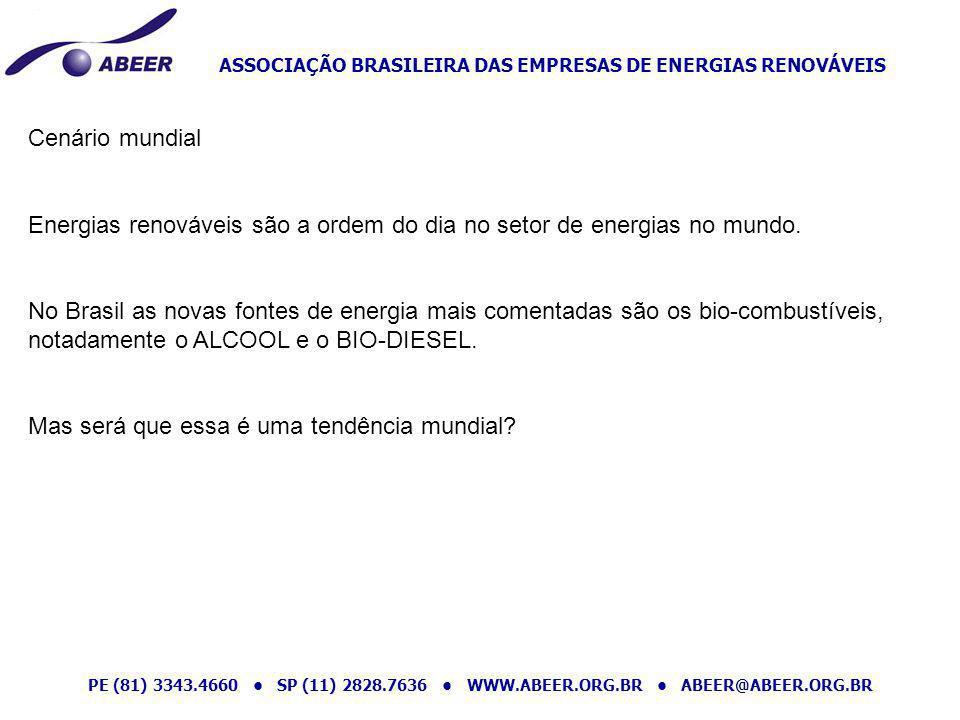 ASSOCIAÇÃO BRASILEIRA DAS EMPRESAS DE ENERGIAS RENOVÁVEIS PE (81) 3343.4660 SP (11) 2828.7636 WWW.ABEER.ORG.BR ABEER@ABEER.ORG.BR Cenário mundial Ener