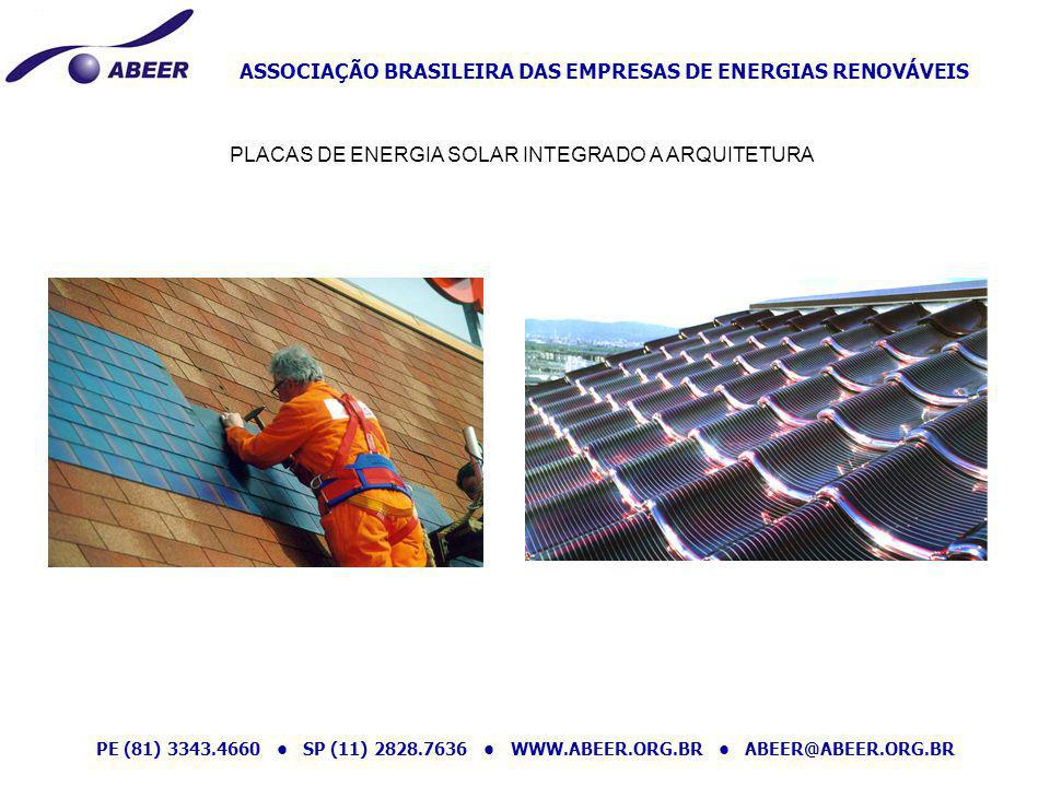 ASSOCIAÇÃO BRASILEIRA DAS EMPRESAS DE ENERGIAS RENOVÁVEIS PE (81) 3343.4660 SP (11) 2828.7636 WWW.ABEER.ORG.BR ABEER@ABEER.ORG.BR PLACAS DE ENERGIA SO