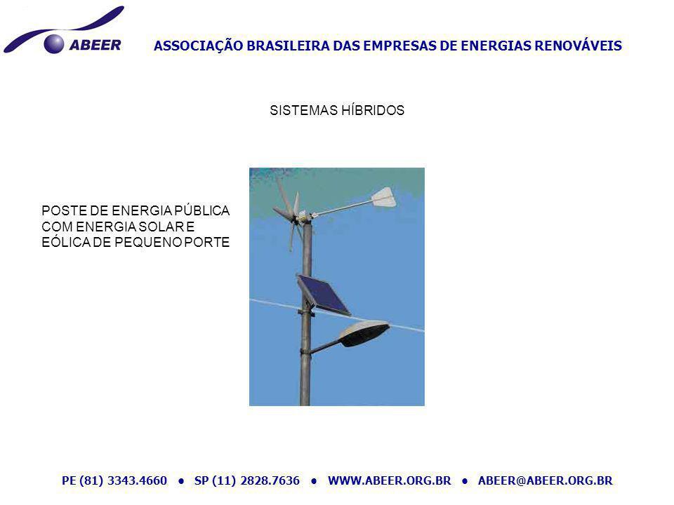 ASSOCIAÇÃO BRASILEIRA DAS EMPRESAS DE ENERGIAS RENOVÁVEIS PE (81) 3343.4660 SP (11) 2828.7636 WWW.ABEER.ORG.BR ABEER@ABEER.ORG.BR SISTEMAS HÍBRIDOS PO