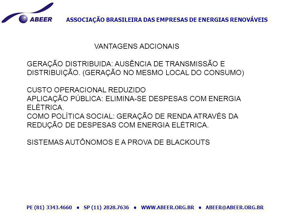 ASSOCIAÇÃO BRASILEIRA DAS EMPRESAS DE ENERGIAS RENOVÁVEIS PE (81) 3343.4660 SP (11) 2828.7636 WWW.ABEER.ORG.BR ABEER@ABEER.ORG.BR VANTAGENS ADCIONAIS