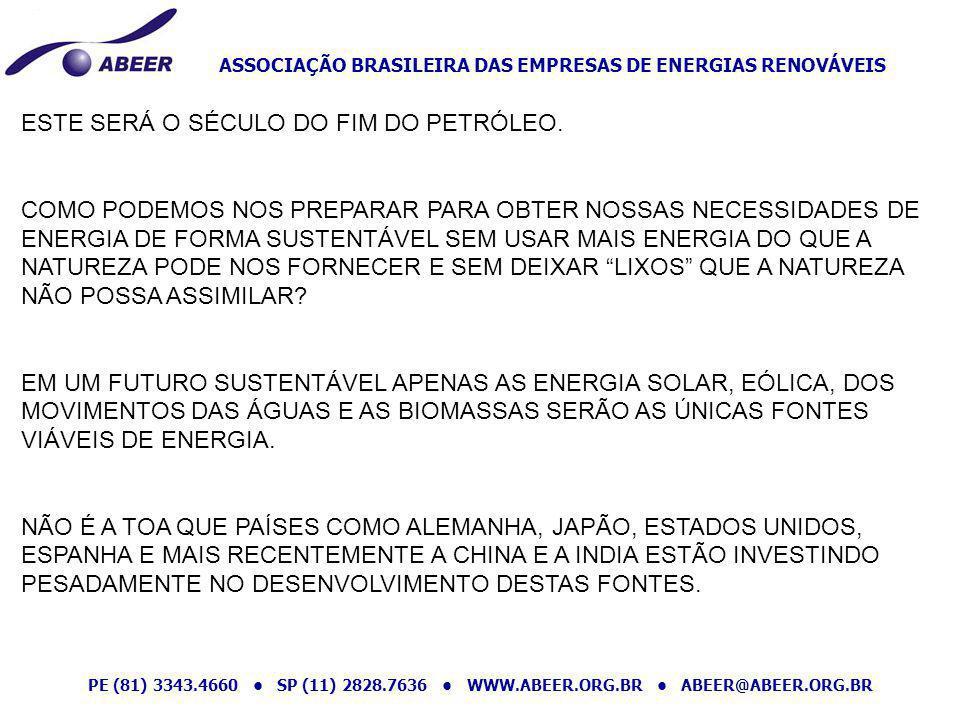 ASSOCIAÇÃO BRASILEIRA DAS EMPRESAS DE ENERGIAS RENOVÁVEIS PE (81) 3343.4660 SP (11) 2828.7636 WWW.ABEER.ORG.BR ABEER@ABEER.ORG.BR E O BRASIL O QUE CONHECE DESTAS FONTES DE ENERGIAS.