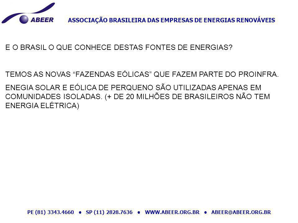 ASSOCIAÇÃO BRASILEIRA DAS EMPRESAS DE ENERGIAS RENOVÁVEIS PE (81) 3343.4660 SP (11) 2828.7636 WWW.ABEER.ORG.BR ABEER@ABEER.ORG.BR MÓDULOS SOLAR FOTOVOLTAICO TURBINA EÓLICA PEQUENO PORTE TECNOLOGIAS SUGERIDAS