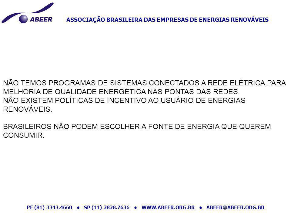 ASSOCIAÇÃO BRASILEIRA DAS EMPRESAS DE ENERGIAS RENOVÁVEIS PE (81) 3343.4660 SP (11) 2828.7636 WWW.ABEER.ORG.BR ABEER@ABEER.ORG.BR NÃO TEMOS PROGRAMAS