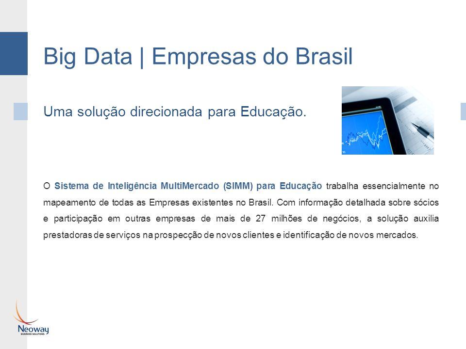 Big Data | Empresas do Brasil O Sistema de Inteligência MultiMercado (SIMM) para Educação trabalha essencialmente no mapeamento de todas as Empresas existentes no Brasil.